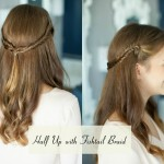 half up with fishtail braid